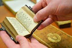 """""""Seder Tefilah,"""" a small Hebrew book printed in 1709 is bound in tortoise shell."""