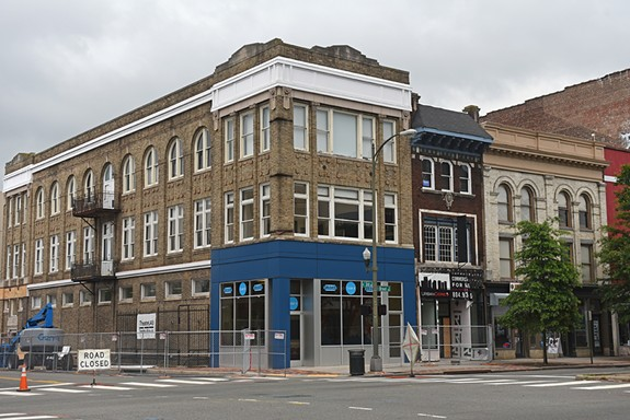 Terry Rea and James Parrish say they've signed a lease for the ground floor at 304 E. Broad St. (the middle brown building). - SCOTT ELMQUIST