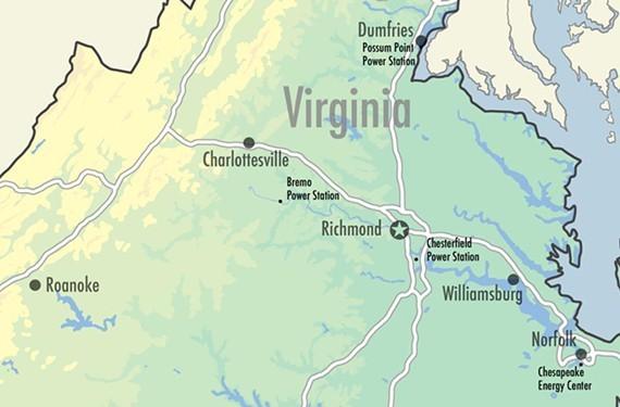 Dominion's 11 coal ash ponds in Virginia.