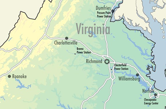 Dominion's 11 coal ash ponds in Virginia.
