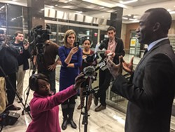 After the final results are announced Wednesday night, mayor-elect Levar Stoney holds a press conference at City Hall. - SCOTT ELMQUIST