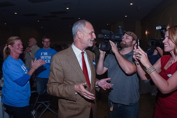 "Jack Berry talks with supporters and media on Tuesday night at the Robinson Theater in Church Hill. On Wednesday he conceded the election, saying in a statement, ""While the outcome is not what we had hoped for, I know that Richmond will be in good hands. Richmond has elected a young, inspiring leader with a vision for the future and immense dedication to our schools and children."" - SCOTT ELMQUIST"