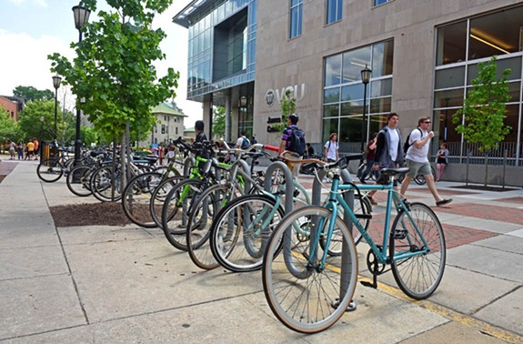 Among other funds in its 2018 budget, the city has set aside $25,000 a year for the next several years for bike rack construction. - SCOTT ELMQUIST