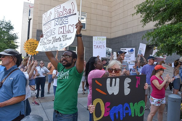 The march ended at the federal courthouse on Broad Street. - SCOTT ELMQUIST