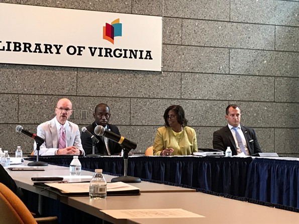 City Council president Chris Hilbert, Mayor Levar Stoney, School Board chairperson Dawn Page and councilor Andreas Addison at a joint education compact meeting at the Library of Virginia on Monday afternoon. - JACKIE KRUSZEWSKI