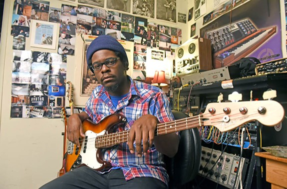Local multi-instrumentalist and producer Devonne Harris, here in his Jellowstone home studio, has been praised by national artists such as Questlove, drummer for the Roots. Upcoming projects include playing on Jack White's third solo album. - SCOTT ELMQUIST