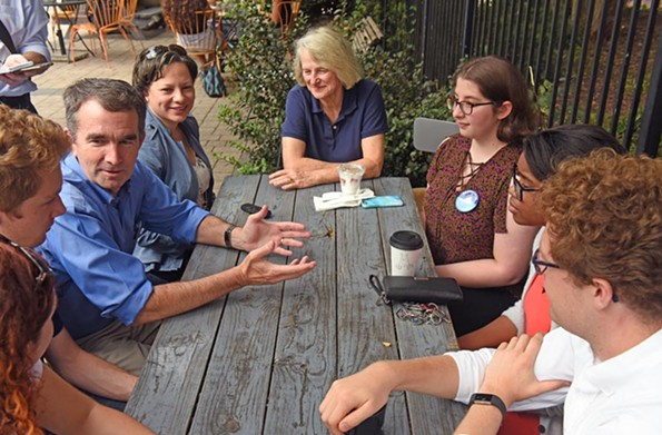 Northam, joined by state Sen. Jennifer McClellan, fourth from left, and Delegate Betsy Carr met with a group of young Democrats on Oct. 7 at a cafe in Richmond's Fan District. - SCOTT ELMQUIST