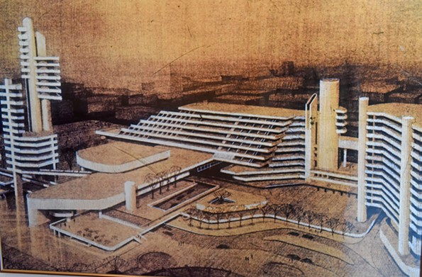 Proposed Richmond Convention Center on Fifth Street, 1975.