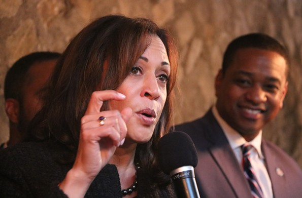California Sen. Kamala Harris speaks in Richmond as lieutenant governor candidate Justin Fairfax looks on. - CHARLOTTE RENE WOODS