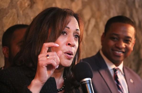 California Sen. Kamala Harris speaks in Richmond as lieutenant governor candidate Justin Fairfax looks on. - CHARLOTTE RENE WOODS