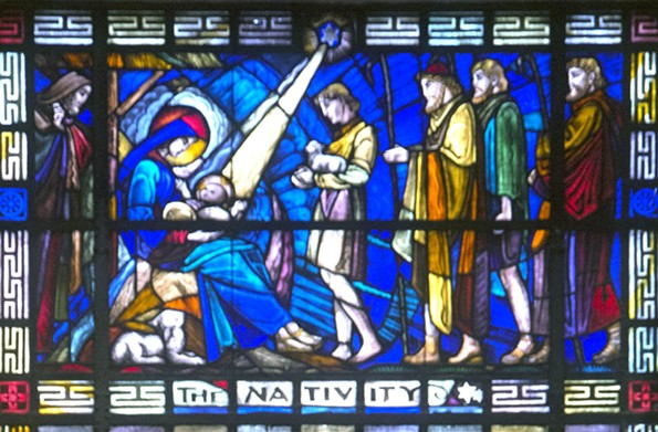 This window showing a precession of shepherds approaching the Christ child was dedicated in 1949 at First Baptist Church in memory of George H. Hester. - SCOTT ELMQUIST