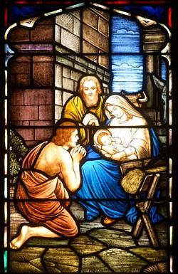 A lone shepherd visits Bethlehem in this window at St. John's United Church of Christ. - SCOTT ELMQUIST