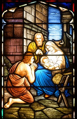A lone shepherd visits Bethlehem in this window at St. John's United Church of Christ. - SCOTT ELMQUIST