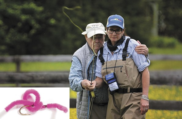 Rhonda Christine Burleson, with World War II veteran Frank Moore, chose the fuzzy San Juan Worm. - AMERICA'S FAVORITE FLIES