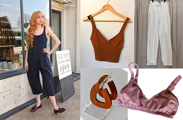 Clockwise from left: Manson models a Llana Kohn Gary jumpsuit ($297).Hand-knit camisole. Cream-colored Townes trousers in raw silk. Pansy Co. bralette. Sophie Monet wooden earrings - SCOTT ELMQUIST