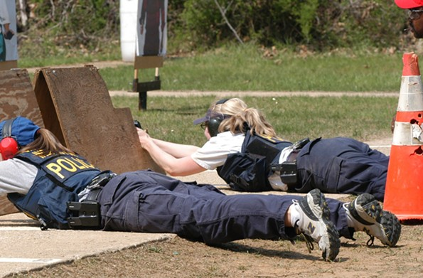 Spanberger on a firearms range as a U.S. Postal inspector before she joined the CIA.