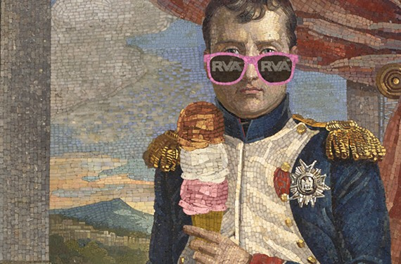 """Napoleon: Power and Splendor"" is on exhibit at the Virginia Museum of Fine Arts through Sept. 3. ""Napoleon in His Study Wearing the Uniform of a Grenadier of the Guard"" courtesy of the VMFA/Musée national des châteaux de Malmaison et Bois-Préau; photo-illustration by Ed Harrington."