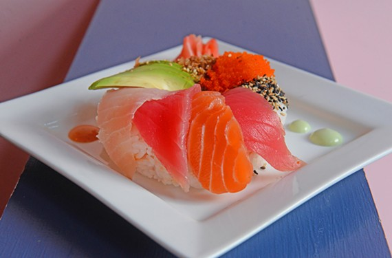The sushi donut is one of several appetizers available at Fighting Fish.