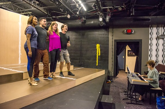 "Mariah Mazyck, Dan Cimo, Alona Metcalf and Matt Polson rehearse a number from ""Sondheim on Sondheim"" musical revue opening Richmond Triangle Theatre's 2018-2019 season."