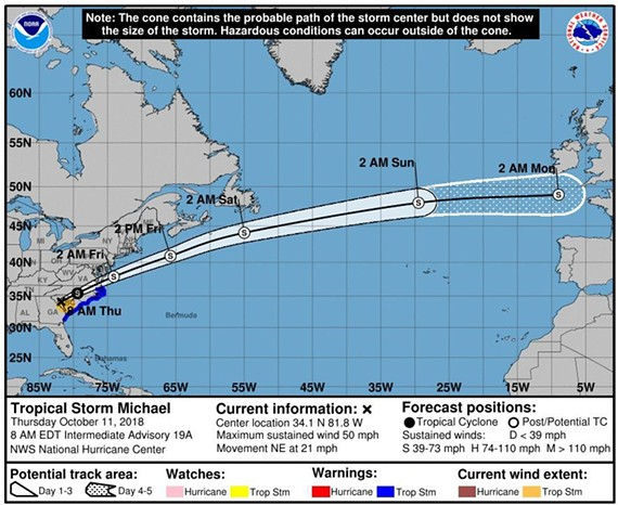 The National Hurricane Center's projected path for Tropical Storm Michael as of 8 a.m. Thursday, Oct. 11, 2018