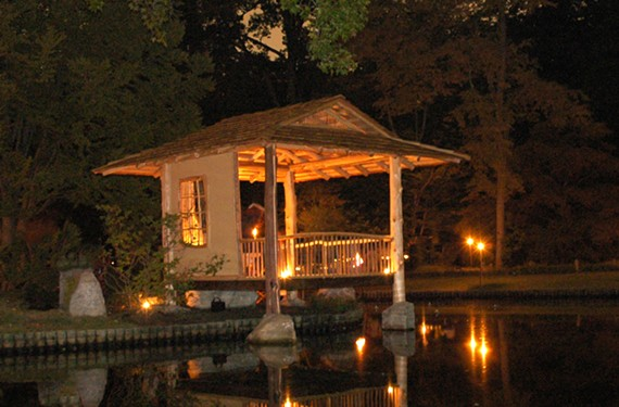 The azumaya, a traditional shelter to enjoy the Japanese Garden, is lit up for Maymont's new Garden Glow exhibit running from 6 to 10 p.m.