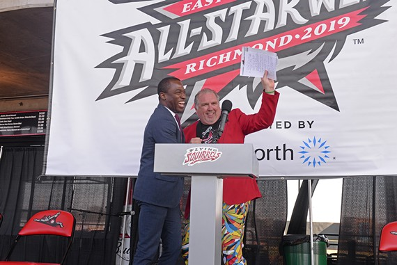 "Mayor Levar Stoney and Richmond Flying Squirrels VP and COO, Todd ""Parney"" Parnell."