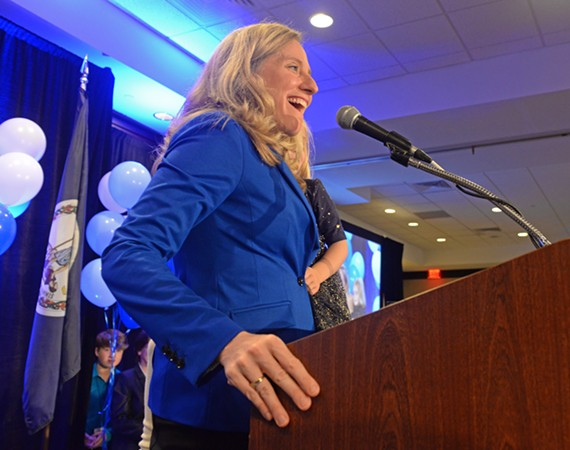 Congresswoman-elect Abigail Spanberger delivers her victory speech after defeating Republican incumbent Dave Brat for the 7th District seat.