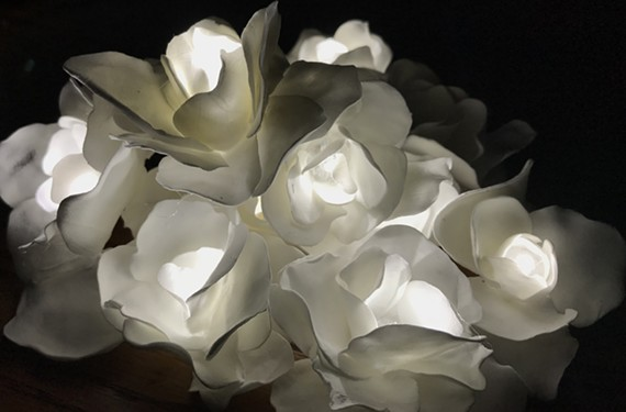 """InLight Richmond 2018 artist Amy Smith's """"Flower"""" detail, paper, clay, LEDs and wire."""