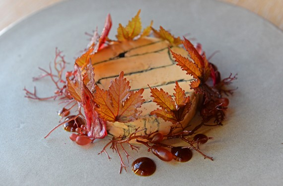 The foie gras at Longoven is served with seaweed, soy gel, hibiscus and warm sourdough croutons.