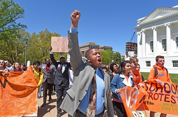 Ta'Quan Grant, a Thomas Jefferson High School senior, marches on the Virginia State Capitol to protest against gun violence in schools during the Virginia National School Walkout Protest on April 20. The event was held on the anniversary of the 1999 Columbine High School shooting in Colorado