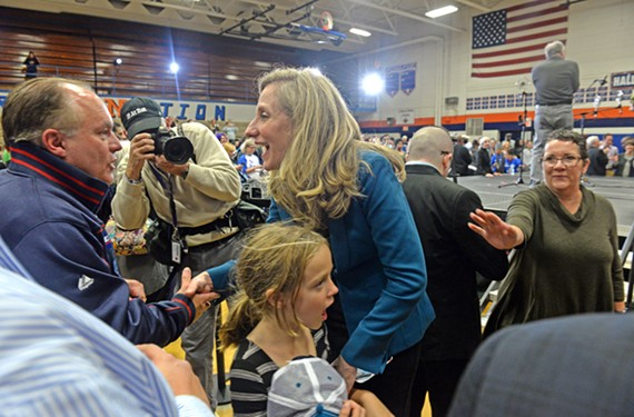 On the eve of Election Day, Abigail Spanberger joined Sen. Tim Kaine and other prominent Virginia Democrats for arally at her alma mater, J.R. Tucker High School, in Henrico County.