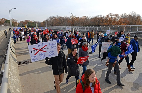 Hundreds marched in Richmond on Saturday, Dec. 8, to protest the lack of funding for Virginia schools.