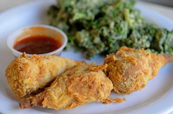 The chick 'n' drummies at NuVegan Cafe may be meatless, but they crunch and shred like real fried chicken.