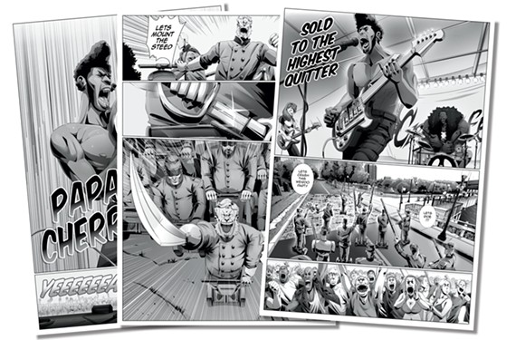 A couple of panels from the comic book series Papa Cherry created by Saxton Moore and illustrated by Richmonder Phillip Johnson. The first volume is set in Richmond.