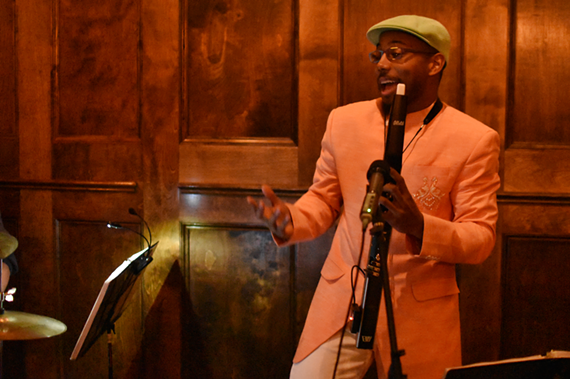 Jazz standout Victor Haskins shown during a release party for his new album at Black Iris Gallery on Saturday, Feb. 2.