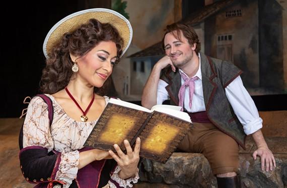 "Violetta López portrays Adina and Carlos Enrique Santelli plays Nemorino in Virginia Opera's ""The Elixir of Love."""