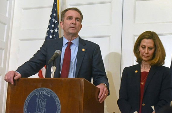 Gov. Ralph Northam and his wife, Pam, during his now infamous moonwalking news conference Feb. 2.