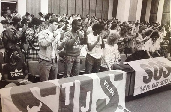 In a 1989 photo from the Richmond News Leader, Thomas Jefferson High School students Toby Billowitz, Corey Powell, Alisa Cartledge, Lori Barnes, Folake Carter, Vanice Toler and others take their fight to Save Our School to Richmond City Hall, where they prevailed.