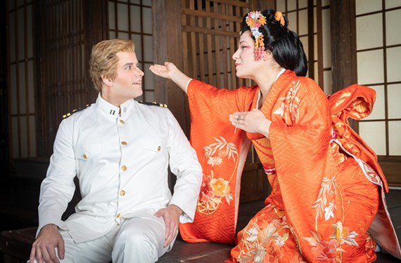 "Matthew Vickers as Lt. Pinkerton and Danielle Pastin, who plays Cio-Cio-San, star in Virginia Opera's ""Madama Butterfly."""