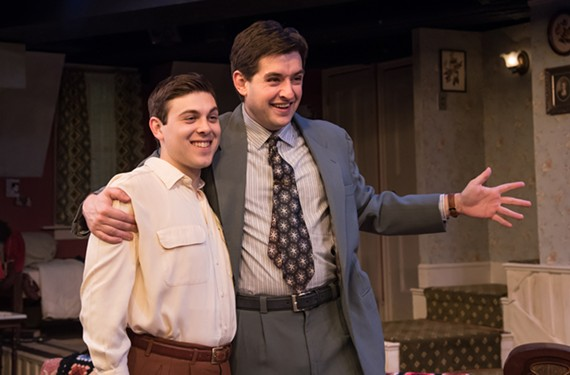 "Tyler Stevens as Eugene and CJ Bergin as his brother, Stanley, in Virginia Repertory Theatre's ""Broadway Bound"" which plays through April 28 at Hanover Tavern."