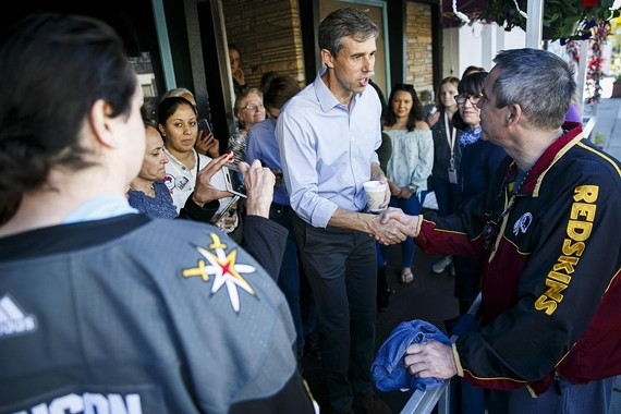 Beto O'Rourke shakes hands with the crowd at Charlie's American Cafe in Norfolk on the morning of Tuesday, April 16.