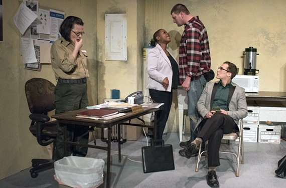 "Donna Marie Miller, Lucretia Marie Anderson, Arik Cullen and Adam Turck star in Firehouse Theatre's ""Animal Control."""