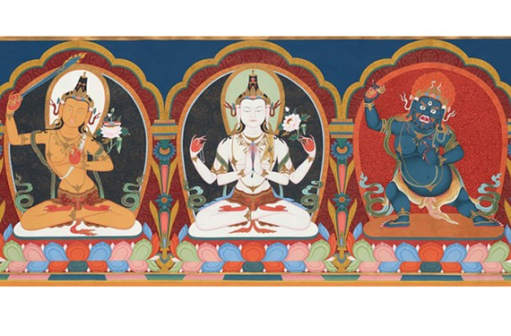 """The Three Protectors of Tibet"" by Tsherin Sherpa, part of the ""Awaken: a Tibetan Buddhist Journey Toward Enlightenment"" exhibit at the VMFA."
