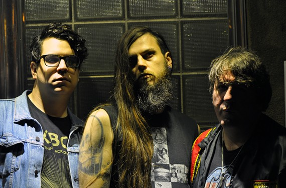 "Hex Machine, featuring bassist Alex Ricart, drummer Douglas Andrae and guitarist and vocalist Trevere Thomas, is touring behind its new album, ""Cave Painting."""