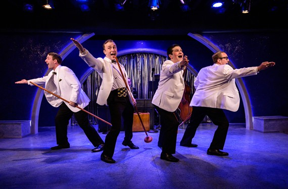 "Ian Page, Caleb Wade, Mitchell Ashe and PJ Llewellyn star in Virginia Repertory Theatre's ""Forever Plaid."""