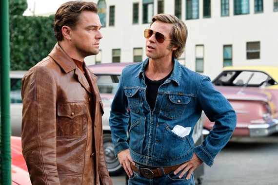 "Leonardo DiCaprio as aging television actor Rick Dalton and his best buddy, Brad Pitt, as stuntman Cliff Booth in ""Once Upon A Time in ... Hollywood."""
