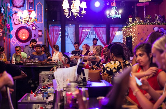 The themes of Switch, Richmond's newest pop-up bar, will change every three or four months. The upstairs space, currently called the Rabbit Glass, features Alice in Wonderland-inspired decor and cocktails.