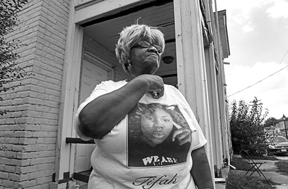 At a recent anti-gun violence event on North Avenue, Julia Ann Brown remembers her granddaughter, Latifah Arnae Hudnall, who was shot in Richmond on March 31, 2018.
