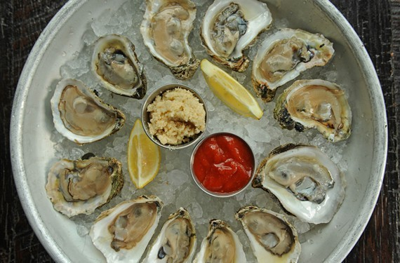 The oyster sampler is one of the main attractions at the Fan's Pearl Raw Bar.