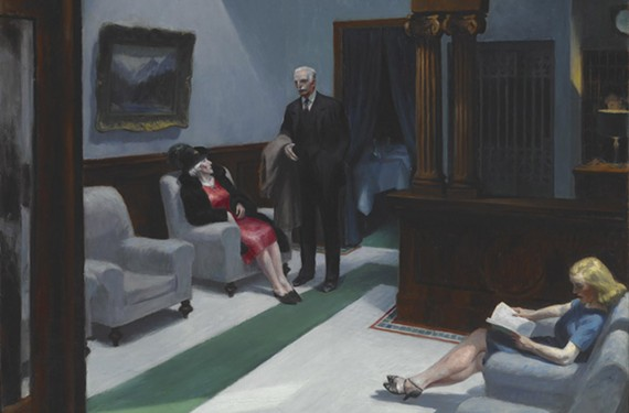 """Hotel Lobby"" a signature oil painting by Edward Hopper from 1943. ""Edward Hopper and the American Hotel"" runs at VMFA from Oct. 26 to Feb. 23."